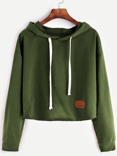 16$  Watch now - http://dirtk.justgood.pw/go.php?t=13602 - Army Green Hooded Patch Crop Sweatshirt