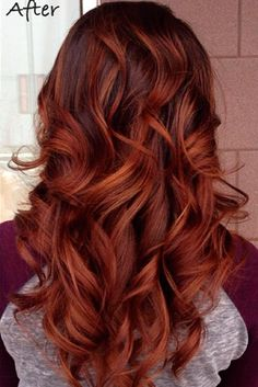 cinnamon red hair color trend in trendy hairstyles and colors blue ombre hair; Red Brown Hair Color, Brown Hair With Highlights, Cool Hair Color, Color Red, Color Highlights, Dark Auburn Hair Color, Red Hair With Highlights, Color Streaks, Natural Highlights