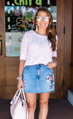 Summer Style via Glitter & Gingham / How to style a denim skirt / Embroidered Denim Skirt / Summer outfit inspiration