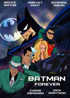 An artistic poster for the film 'Batman Forever' depicting the characters as they appear in Batman: The Animated Series.