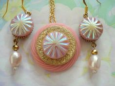 Pink Glass Button Pendant with Matching Crystals and Freshwater Pearls,Pendant Necklace Set by JTSJewelryDesigns, $29.95 USD