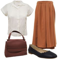Crippen Inez Skirt in Terracotta. Cotelac Blouse. Chloe Scalloped Ballet Flat in Navy. The Row Top Handle Bag in Mahogany.