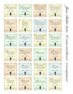 Jane Austen quotes 1.5 inch squares