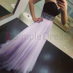 Simple Dress Lavender Tulle Prom Dresses, Black Sweetheart Prom Dresses, Popular 2015 Prom Dresses TUPD-7107