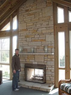 see through fire place - love the stone!