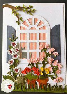 Susan Tierney-Cockburn created a beautiful window scene using her CountryScapes dies: Carolina Window & Shutters; Hollyhock, Rhododendron, Geranium, Critters 1, Woods 1, and Backyard 1. Visit Susan's blog for even more inspiration: https://stierneyc.wordpress.com/author/stierneyc/
