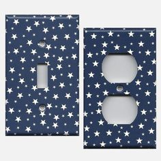 Navy Blue and White Stars Americana or Night Sky Celestial Light Switch Plates and Wall Outlet Covers