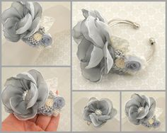 mother of the bride corsages   Corsage Wrist Corsage Mother of the Bride in Grey and Ivory with ...
