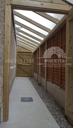 Side entrance passageway with roof, rain shelter, safe, secure bike or toy storage at side of house Extension Veranda, Side Walkway, Shed Storage, Storage Area, Toy Storage, Garden Bike Storage, Outdoor Bike Storage, Secure Storage, Rain Shelter