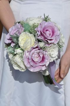 Fairytale Ivory and Lilac Fresh Touch Rose and Peony Bridal Bouquet w/ Thistles