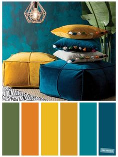 Interior Design Color Schemes, Color Schemes Colour Palettes, Living Room Color Schemes, Peacock Color Scheme, Peacock Colors, Green Color Schemes, Turquoise Color Palettes, Autumn Color Palette, Copper Colour Palette