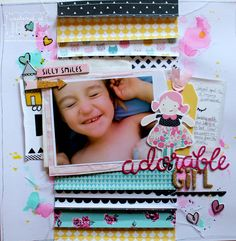 """""""Adorable Girl"""" layout by Bernii Miller for ScrappingClearly using the Cute Girl collection from Crate Paper."""