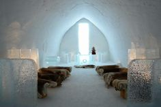Ice hotel in the snow castle of Kemi Igloo Village, Santa's Village, The Places Youll Go, Places To Go, Snow Castle, Alaska, Ice Castles, Lappland, Winter Destinations