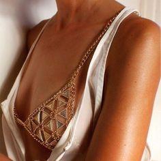 Bikini Chainmail Top Harness Triangle Bra Body Chain Jewelry Necklace