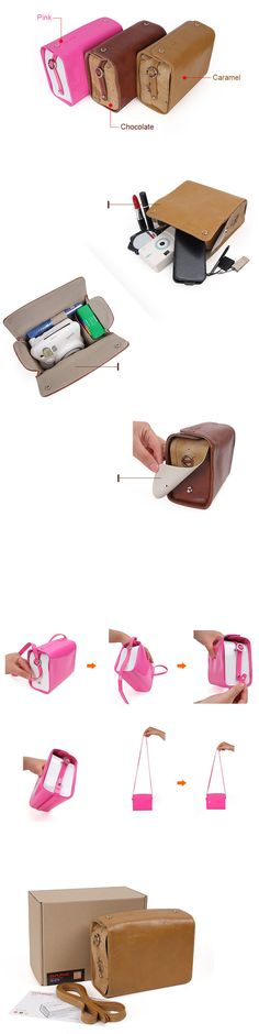 Leather Bag Mini for Fujifilm Instax Mini - Chocolate Fujifilm Polaroid, Instax Mini 8 Camera, Fujifilm Instax Mini 8, Polaroid Cameras, Instax Mini Ideas, Photography Accessories, Camera Accessories, Leather Bag, Typewriters