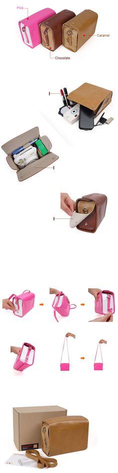 Leather Bag Mini for Fujifilm Instax Mini - Chocolate