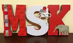 Items similar to Wood letters - Nursery letters (SOLD) - nursery decor - red and grey, elephants on Etsy Elephant Nursery Girl, Red Nursery, Grey Elephant, Girl Nursery, Nursery Decor, Nursery Letters, Wooden Letters, Infant Activities, Red And Grey