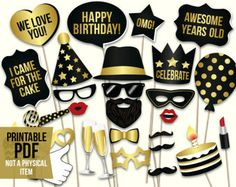 40th birthday photo booth props: printablePDF. Black and gold