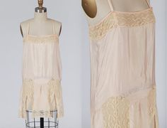 1920s lingerie/ 20s silk chemise/ lace flyaway by MidnightMart, $68.00
