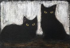 Buy BLACK CATS, Acrylic painting by EVA FIALKA on Artfinder. Discover thousands of other original paintings, prints, sculptures and photography from independent artists. Black Cat Painting, Black Cat Art, Black Cats, Pension Pour Chat, Cat In Heat, Cat Boarding, Black Animals, Cat Drawing, Beautiful Cats