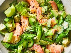 Crunchy romaine and cucumbers, juicy shrimp, and a creamy soy-mayo dressing are just a few of the reasons you'll love this delicious dinner salad Shrimp Salad Recipes, Shrimp Recipes For Dinner, Tilapia Recipes, Fish Recipes, Seafood Recipes, Seafood Meals, Yummy Recipes, Fish Dinner, Dinner Salads