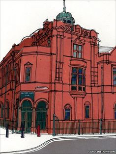 Salford Lads Club by Caroline Johnson; I definitely want a print of this beauty. *could use plastic sheets and pens to recreate a similar piece* Building Illustration, Travel Illustration, British Architecture, Architecture Art, Caroline Johnson, Cityscape Drawing, A Level Art Sketchbook, Building Art, Urban Sketchers