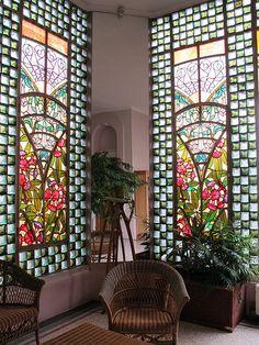 Vitrail la lecture henri berg mus e de l 39 ecole de nancy 54 by yvette gauthier art - Maison jardin furniture nancy ...