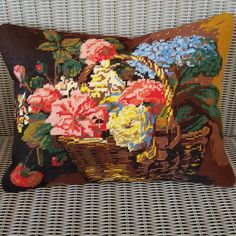Handmade needlepoint cushion cover upcycled from vintage hand stitched find by KindredClassics on Etsy Dark Red Background, Floral Cushions, Needlepoint Kits, Upcycled Vintage, Red Poppies, Wool Yarn, Neutral Colors, Hand Stitching, Tapestry