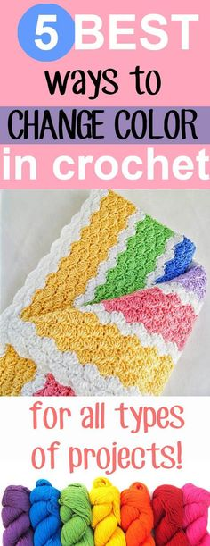5 Best Ways to Change Color in Crochet; The best 5 ways to change color in crochet, for all types of projects! I hope this roundup helps you change color easily and seamlessly in all sorts of projects, these tips and tricks are so easy! Crochet Motifs, Crochet Stitches Patterns, Tunisian Crochet, Crochet Designs, Stitch Patterns, Crochet Crafts, Crochet Yarn, Free Crochet, Crotchet
