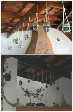 Reused glass jars turned into hanging planter for your indoor or terrace decoration. #Glass, #Hanger, #Jar, #Planter #RecycledGlass Hanging Jars, Hanging Planters, Recycled Crafts, Recycled Glass, Gutter Colors, Glass Bottle Crafts, Jam Jar, Container Gardening, Indoor Gardening