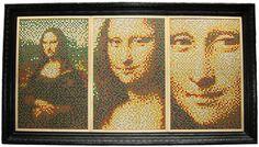 Tracy Sigler Mona Lisa Triptych - using thumb tacks Push Pin Art Push Pin Art, Triptych, Stained Glass, Mona Lisa, Stationery, Frame, Painting, Tack, Mosaics