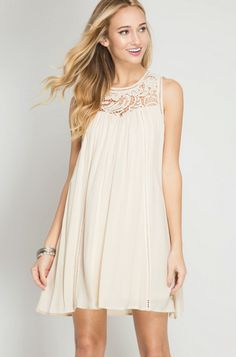 She & Sky Sleeveless Dress with Crochet Detail in Taupe - Bella Funk Boutique