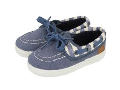 Dinant / Zapatillas náuticas de bebé en azul marino con detalles en blanco. Corte y forro en textil. Zapatos náuticos azules de bebé con cordones decorativos.
