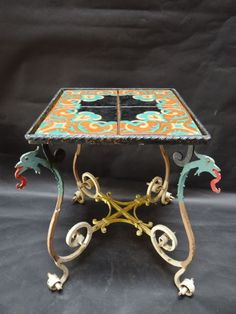 Superieur Old California And Spanish Revival Style Taylor Tile Top Table With  Polychrome Wrought Iron Surround