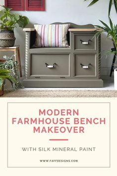 A DIY project on your modern farmhouse pine bench with a faux bleached wood look. This is how I created this look... Farmhouse Style Furniture, Farmhouse Bench, Modern Farmhouse, Bleached Wood, Paint Line, Paint Effects, Mineral Paint, Hand Painted Furniture, Furniture Restoration