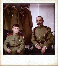 Tsesarevich Alexei with officer in Mogilev by KraljAleksandar.deviantart.com on @DeviantArt