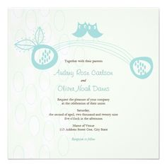 Whimsical Blue Owls In Love Wedding 2in1 Invite Custom Announcements