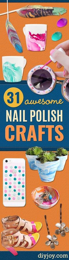 DIY Nail Polish Crafts  - Easy and Cheap Craft Ideas for Girls, Teens, Tweens and Adults   Fun and Cool DIY Projects You Can Make With Fingernail Polish - Do It Yourself Wire Flowers, Glue Gun Craft Projects and Jewelry Made From nailpolish - Water Marble Tutorials and How To With Step by Step Instructions http://diyjoy.com/nail-polish-crafts