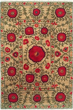 Field of Poppies Carpet (beige) - A Rug For All Reasons - Handmade Area Rugs