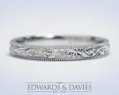 Hand Engraved White Gold Wedding Band Ring Antique Style