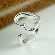 925 heart shape silver ring adjustable size shop at Costwe.com
