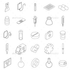 Medicine equipment icons set in isometric 3d style on a white background