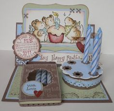 """Celebrate"" Cake & Candles Easel Card (Note: This site can be translated.) (Site - Photo Tutorial)"