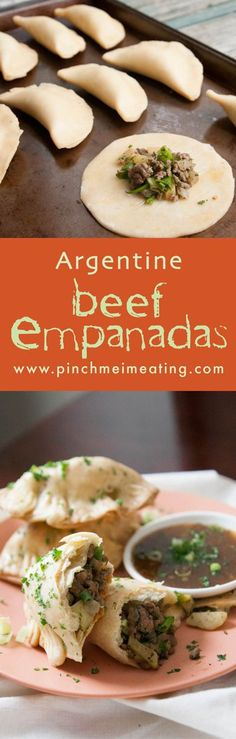 Get a taste of South America with these Argentine beef, potato, and onion empanadas. Serve them with chimichurri!   www.pinchmeimeating.com