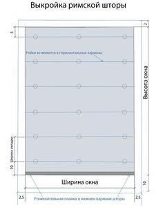 Римская штора.Так выглядит выкройка для римской шторы. Выкраивать нужно по внешним синим линиям.