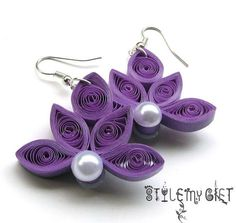 Lotus Earrings, Handmade paper earring, Lightweight Statement jewelry, Anniversary paper gift for her, Paper Jewelry from Husband - Jubiläums-Geschenkidee Quiling Earings, Paper Quilling Earrings, Paper Quilling Patterns, Quilled Paper Art, Quilling Tutorial, Quilling Paper Craft, Quilling Ideas, Paper Crafts, Foam Crafts