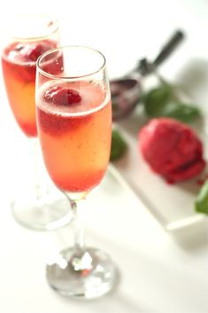 #cheers Strawberry Basil Sorbet Bellinis - #thecopperolive