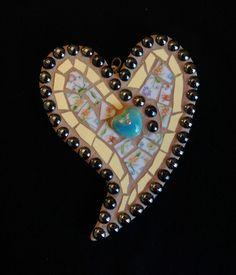 Yellow Mixed Media Pique Assiette Mosaic heart wall by BrokenArtz, $39.00
