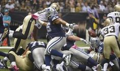 The ball falls after Dallas Cowboys running back Joseph Randle (21) scored a touchdown as the Dallas Cowboys play the New Orleans Saints.