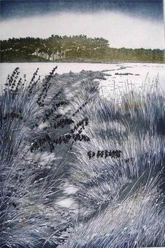 Helen Hanson limited edition etching aquatint Winter Fields signed